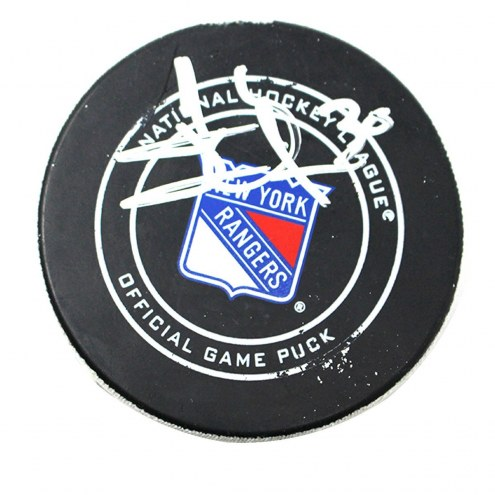 New York Rangers Henrik Lundqvist Signed 2017-2018 Game Used Puck