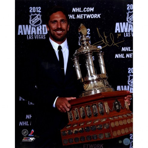New York Rangers Henrik Lundqvist Signed Vezina Trophy 16 x 20 Photo