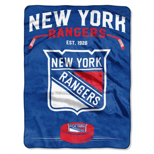 New York Rangers Inspired Plush Raschel Blanket