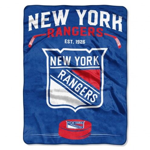 New York Rangers Inspired Plush Raschel Blanket