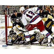 """New York Rangers Kevin Hayes Overtime Goal Against Marc Andre-Fleury Signed 16"""" x 20"""" Photo"""