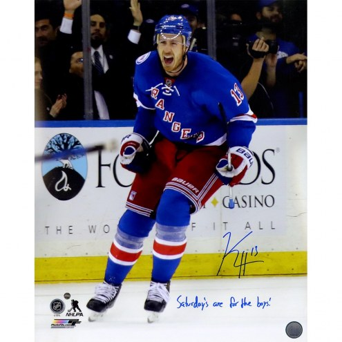New York Rangers Kevin Hayes Signed Goal Celebration 16 x 20 Photo w/ Saturdays are For The Boys