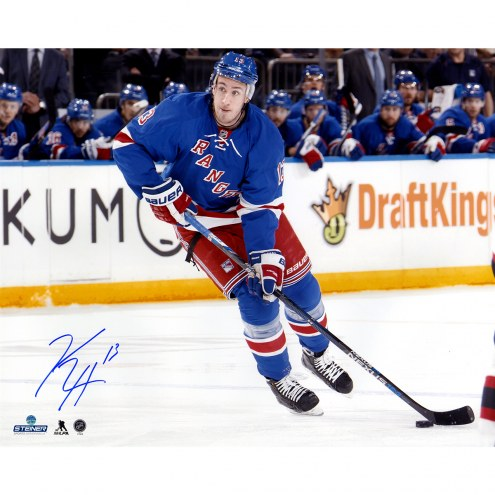 """New York Rangers Kevin Hayes Skating with Puck vs Devils Signed 16"""" x 20"""" Photo"""