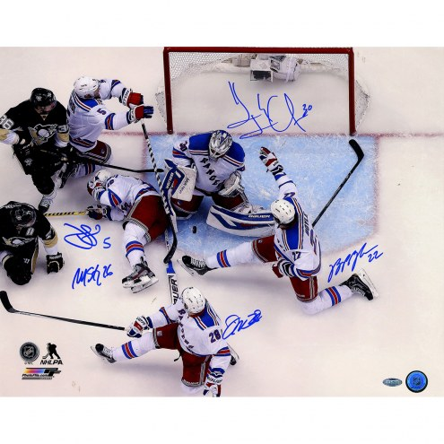 """New York Rangers Key Moment in Game 7 vs. Penguins (5 Signatures) Signed 16"""" x 20"""" Photo"""