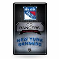 New York Rangers Large Embossed Metal Wall Sign