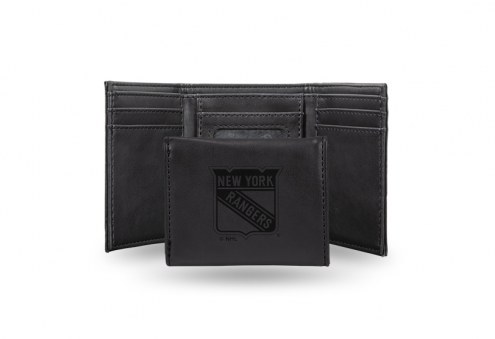 New York Rangers Laser Engraved Black Trifold Wallet