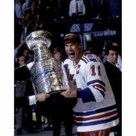 New York Rangers Mark Messier Signed Cup on Side Vertical 16 x 20 Photo w/ 94 Cup