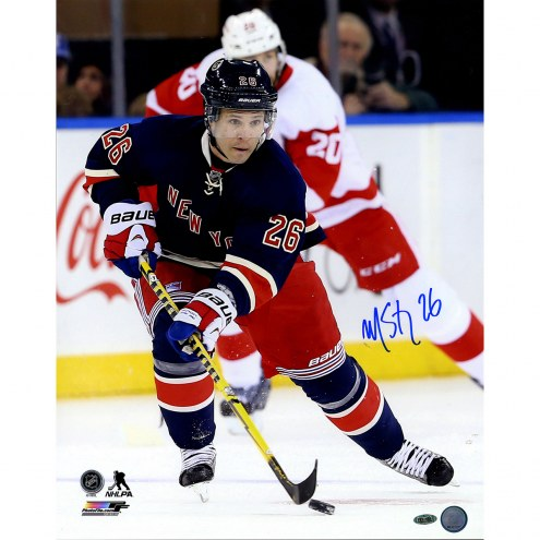 "New York Rangers Martin St. Louis Royal Jersey vs Red Wings Signed 16"" x 20"" Photo"