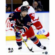 """New York Rangers Martin St. Louis Royal Jersey vs Red Wings Signed 16"""" x 20"""" Photo"""