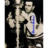New York Rangers Maurice Rocket Richard Signed 8 x 10 Photo with Stanley Cup