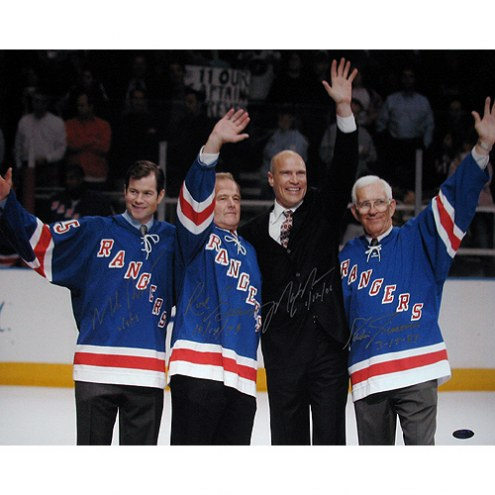 "New York Rangers Messier, Richter, Giacomin, Gilbert Wave to the Crowd w/ ""Retired Number Date"" Signed 16"" x 20"" Photo"