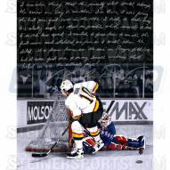 """New York Rangers Mike Richter Save on Pavel Bure Story Signed 16"""" x 20"""" Photo"""
