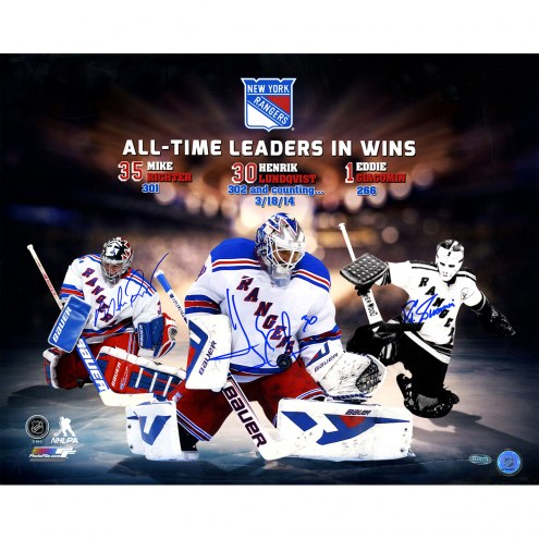 "New York Rangers Mike Richter/Henrik Lundqvist/Eddie Giacomin All Time Wins Leaders Signed 16"" x 20"" Photo"