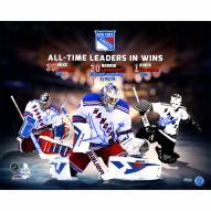 """New York Rangers Mike Richter/Henrik Lundqvist/Eddie Giacomin All Time Wins Leaders Signed 16"""" x 20"""" Photo"""