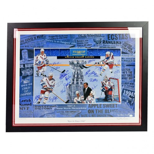 New York Rangers Multi Signed and Framed  Rest in Peace 1940 Robert Steven Simon 26 x 34 Lithograph