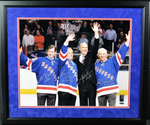 New York Rangers Mark Messier / Mike Richter / Eddie Giacomin / Rod Gilbert Multi Signed and Framed Wave to the Crowd Horizontal 16 x 20 Photo
