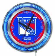 New York Rangers Neon Clock