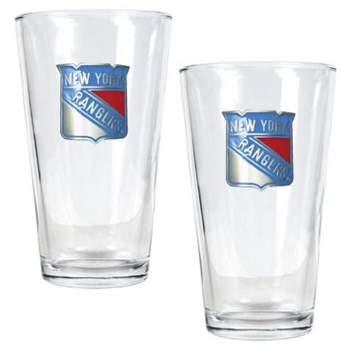 New York Rangers NHL Pint Glass - Set of 2