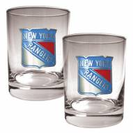 New York Rangers NHL Rocks Glass - Set of 2