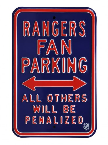 New York Rangers Penalized Parking Sign