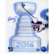 """New York Rangers Ryan McDonagh Skating Over 2014 Stanley Cup Logo Signed 16"""" x 20"""" Photo"""
