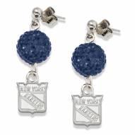 New York Rangers Sterling Silver Crystal Ovation Earrings