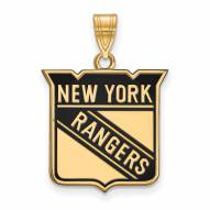 New York Rangers Sterling Silver Gold Plated Large Enameled Pendant