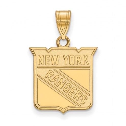 New York Rangers Sterling Silver Gold Plated Medium Pendant