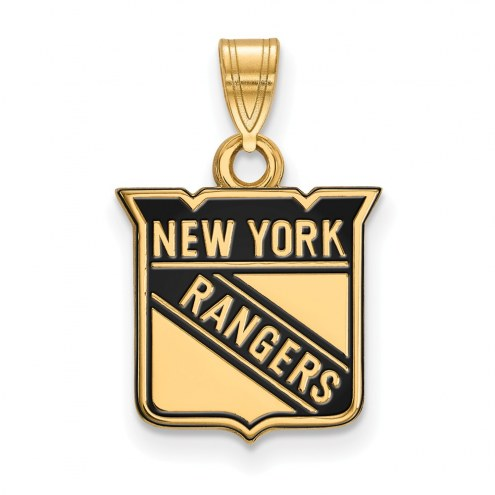 New York Rangers Sterling Silver Gold Plated Small Enameled Pendant
