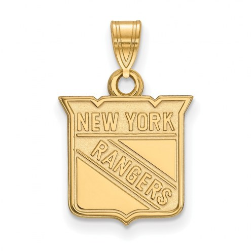 New York Rangers Sterling Silver Gold Plated Small Pendant