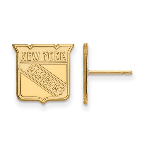 New York Rangers Sterling Silver Gold Plated Small Post Earrings