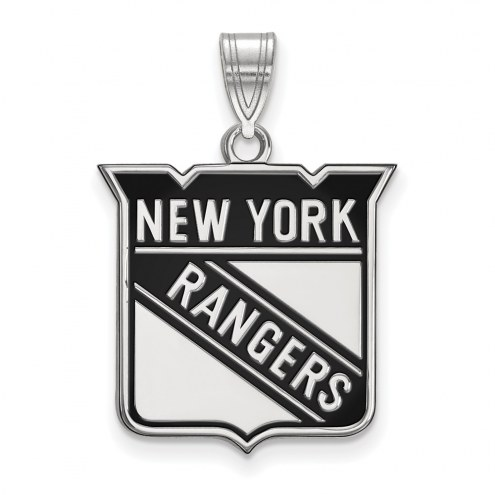 New York Rangers Sterling Silver Large Enameled Pendant