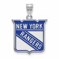 New York Rangers Sterling Silver Large Enameled Pendant