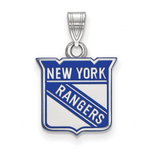 New York Rangers Sterling Silver Small Enamel Pendant