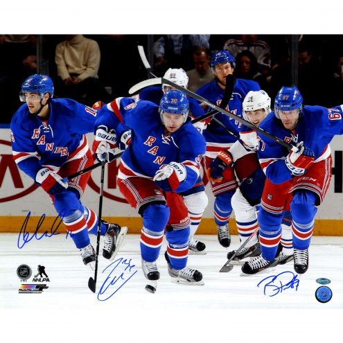 """New York Rangers Triple Signed Zuccarello, Pouliot and Brassard Skating Signed 16"""" x 20"""" Photo"""