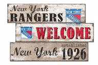 New York Rangers Welcome 3 Plank Sign