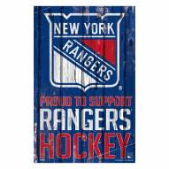 New York Rangers Proud to Support Wood Sign