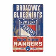 New York Rangers Slogan Wood Sign