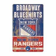 New York Rangers Slogan Wood Sign