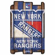 New York Rangers Wood Fence Sign