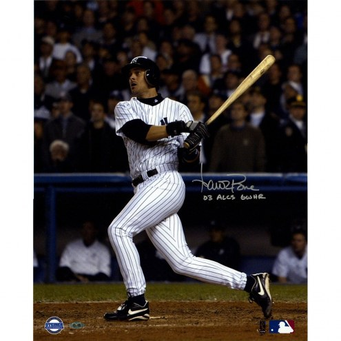 New York Yankees Aaron Boone Signed 2003 ALCS GW HR vs Red Sox Swing 16 x 20 Vertical Photo