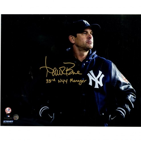 """New York Yankees Aaron Boone Signed Dugout 8 x 10 Photo w/ """"33rd NYY Manager"""""""