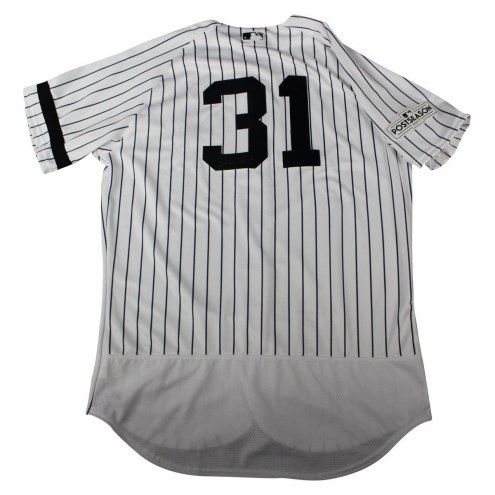 New York Yankees Aaron Hicks Signed 2017 Game-Issued # 31 Home Postseason Jersey