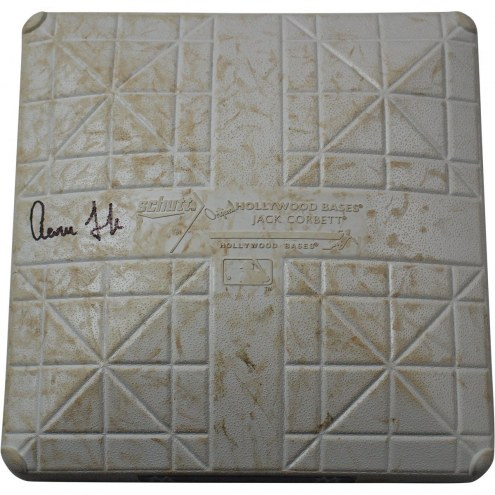New York Yankees Aaron Judge Signed Royals at Yankees 9-25-2017 Game Used Third Base