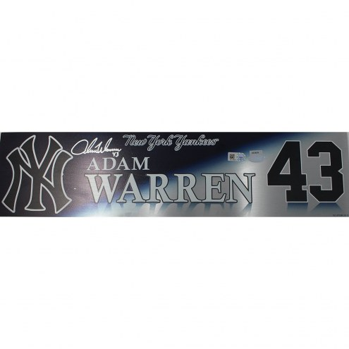 New York Yankees Adam Warren Signed 2017 Game Used #43 Locker Room Nameplate (10/16/2017)