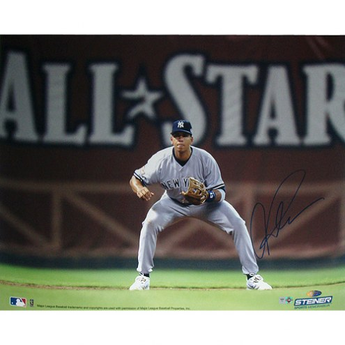 "New York Yankees Alex Rodriguez Fielding w/ All-Star in Background Signed 16"" x 20"" Photo"
