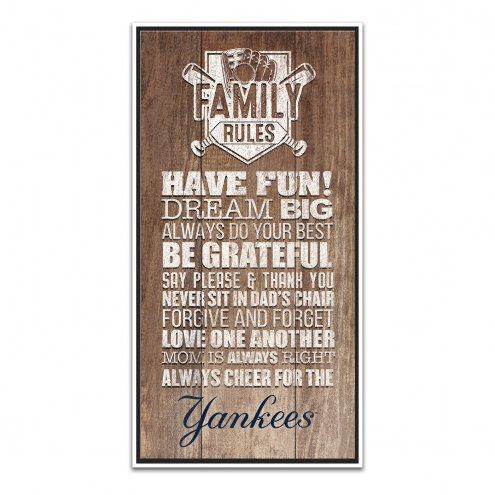New York Yankees Family Rules Icon Wood Framed Printed Canvas