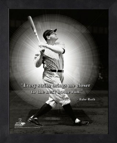 New York Yankees Babe Ruth Baseball Framed Pro Quote