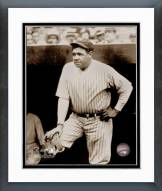 New York Yankees Babe Ruth In Dugout Framed Photo