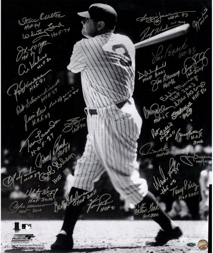 New York Yankees Babe Ruth Swinging 20 x 24 Photo Multi-Signed w/ HOF
